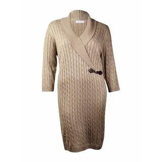 Calvin Klein Women's Metallic Cable Shawl Sweater Dress (3X, Khaki/Gold)