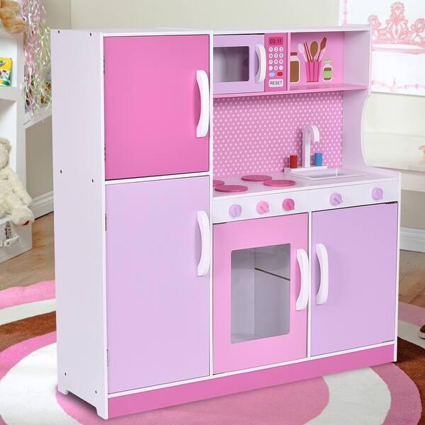 Shop Costway Kids Wood Kitchen Toy Cooking Pretend Play Set ...