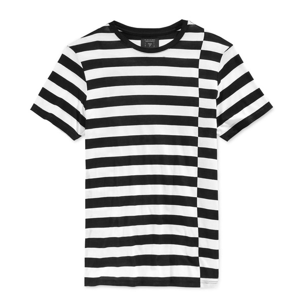 Guess NEW Black White Mens Size XL Short Sleeve Offset Stripe Shirt