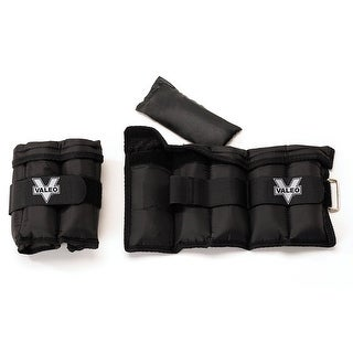 Valeo 20 lb. Adjustable Ankle/Wrist Weights, Black, Pair - 20 lbs.