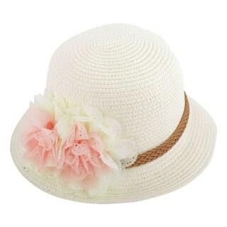 Lady Travel Straw Braided Flowers Decor Summer Beach Sun Bucket Hat Sunhat White