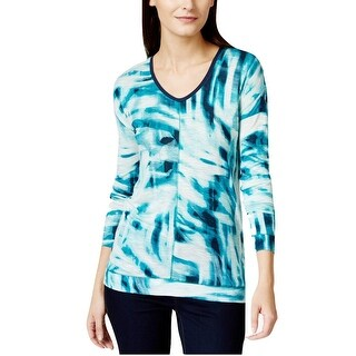 Calvin Klein Downtown Printed V-Neck Long Sleeve Shirt Top