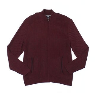 Alfani Port Red Mens Size 2XL Ribbed Full Zip Knitted Sweater