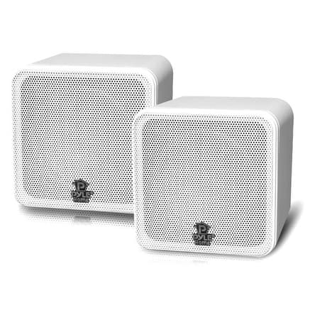4'' 200 Watt White Mini Cube Bookshelf Speaker In White(Pair)