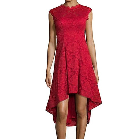 Betsy & Adam Red Women's Size 6 Floral Lace High-Low Sheath Dress