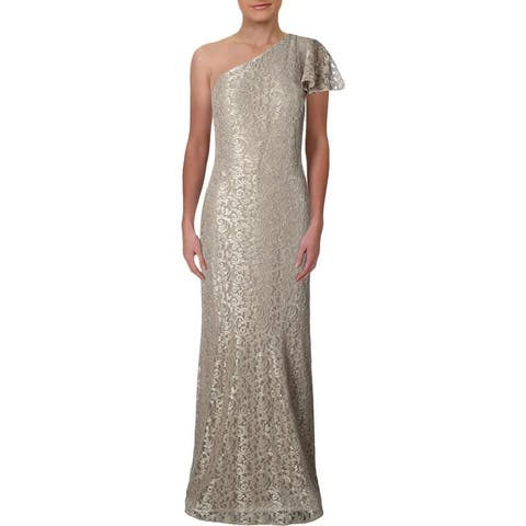 Lauren Ralph Lauren Womens Aven Evening Dress Glitter Lace - Champagne
