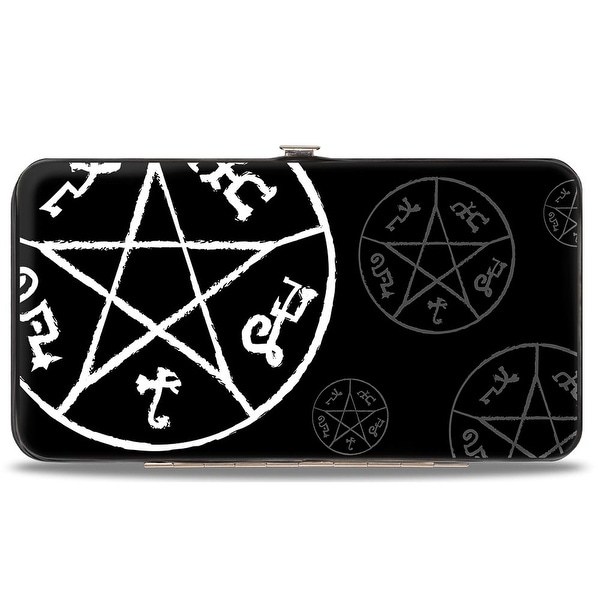 Supernatural Devil's Trap Symbol Scattered Black Gray White Hinged Wallet - One Size Fits most