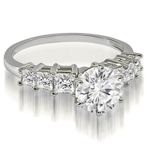 1.75 cttw. 14K White Gold Round and Princess cut Diamond Engagement Ring