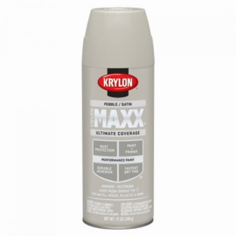 Krylon K09173000 COVERMAXX Performance Aerosol Paint, 12 Oz, Satin Pebble