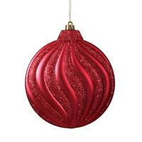 6ct Matte Red Hot Glitter Swirl Shatterproof Christmas Disc Ornaments 6.25""