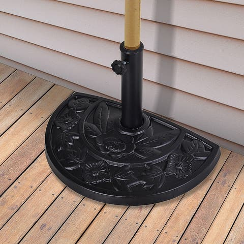 """Outsunny 20"""" Half Round Patio Umbrella Base Outdoor Decorative Resin Parasol Stand Holder For 1.5"""", 1.9"""" Pole"""