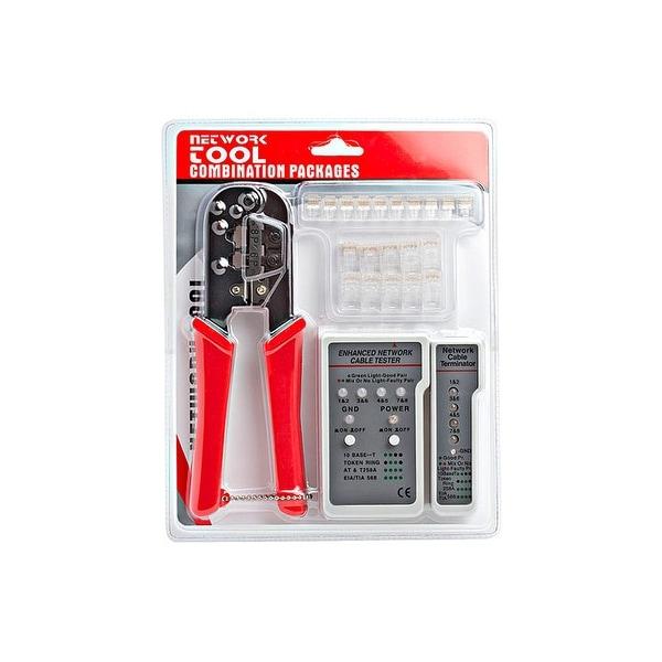 RJ-45/RJ12 Crimping Tool Kit w/ Network Tester and Modular Plugs