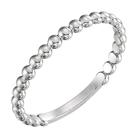 Auriya Petite Ultra-Thin Beaded Style Stackable 10k Gold Ring