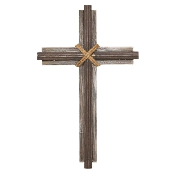 "15.5"" Brown and Gray Cross Shaped Religious Wall Decor - N/A"