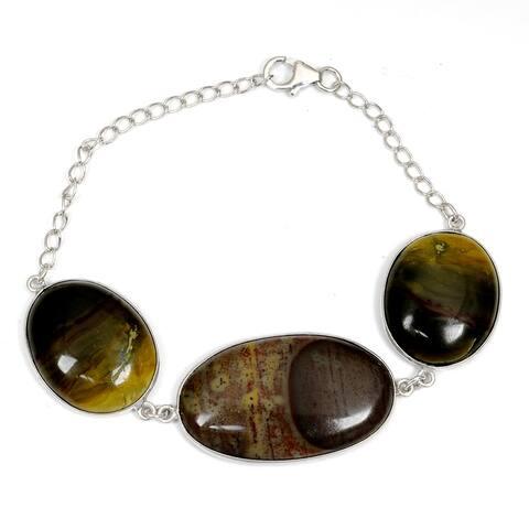 Jasper Sterling Silver Oval Chain Bracelet by Orchid Jewelry