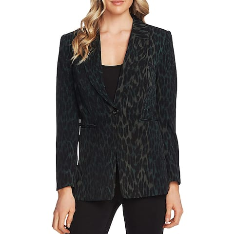 Vince Camuto Womens One-Button Blazer Animal Print Business - Forest