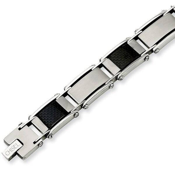 Chisel Stainless Steel Carbon Fiber and Link Bracelet