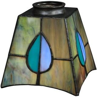 "Meyda Tiffany 24268 5"" Square Mackintosh Leaf Replacement Shade - green / blue aqua / purple"