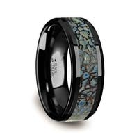 Permian Blue Dinosaur Bone Inlaid Black Ceramic Beveled Edged Ring 4mm