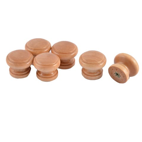 Uxcell 28mm Dia Round Head Furniture Drawer Cupboard Handle Grip Wooden Pull Knob 6pcs