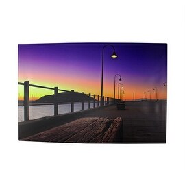 "LED Lighted Sunset Boardwalk Scene Canvas Wall Art 15.75"" x 23.75"""