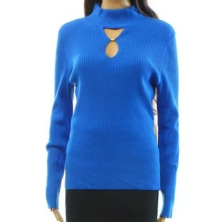 INC NEW Blue Womens Size Large L Ribbed Mock-Neck Keyhole Sweater