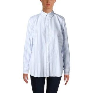 Lauren Ralph Lauren Womens Button-Down Top Striped Adjustable Sleeves