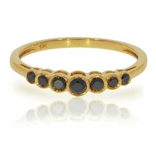 Brand New 0.27 Carat Round Brilliant Cut Black Color Tated Diamond Ring