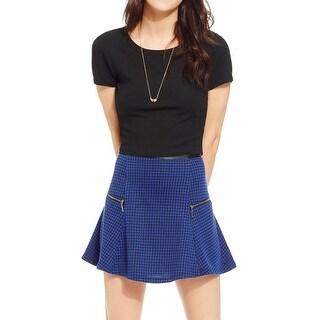Stoosh Womens Juniors A-Line Skirt Pattern Zipper Trim