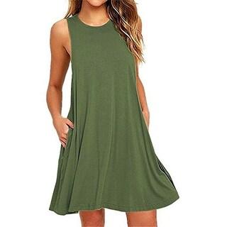 Summer Beach Dresses For Women Tank Top Bikini Swimwear Cover Up Plain Pleated Loose