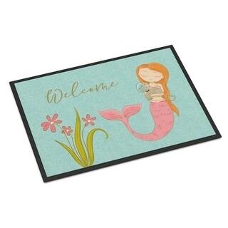 Carolines Treasures BB8548MAT Mermaid with Cat Welcome Indoor or Outdoor Mat - 18 x 27 in.