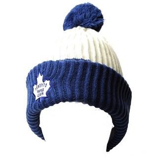 Toronto Maple Leafs NHL Thick Ribbed Pom Beanie, White Ivory Blue - white/ivory/blue