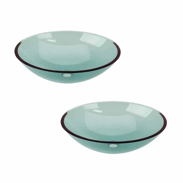 2 Green Glass Vessel Bathroom Oval Sink Pop-up In