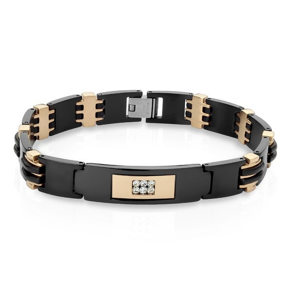 "CZ Center Black IP Two-Tone Stainless Steel ID Bracelet - 8.5"" (Sold Ind.)"