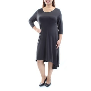 ALFANI $79 Womens New 1614 Gray Asymmetrical Hem 3/4 Sleeve Hi-Lo Dress 18 B+B