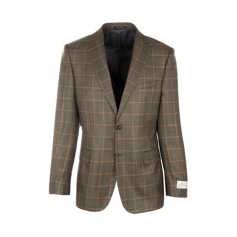 Dolcetto Tan and Black with Rust Windowpane Silk & Wool Jacket by Canaletto Menswear