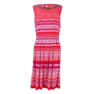 Sandra Darren Women's Studded Neck Mesh Inset Dress - 10