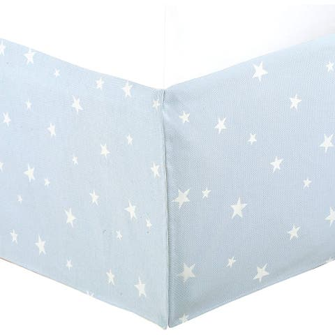 """Light Sky Blue Star Cotton Bed Skirt Jacquard Pleated for Kids/Boys/Girls Dust Ruffle with Split Corners, Tailored 16"""" Drop"""