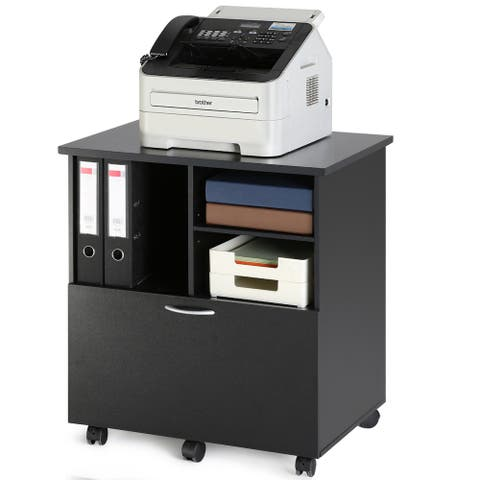 FITUEYES Office Cabinet with Drawer Mobile Printer Cart