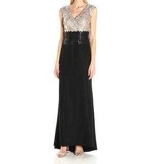 Tadashi Shoji Black Womens Size 4 Sequin Lace Scallop Gown Dress
