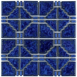 SomerTile 11.75x11.75-inch Callisto Blue Cloud Porcelain Mosaic Floor and Wall Tile (10 tiles/9.79 sqft.)