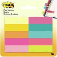 "Assorted Bright - Post-It Page Markers .5""X1.75"" 10/Pkg"