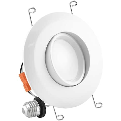 Luxrite 5/6 Inch Gimbal LED Recessed Light, 15W, Dimmable, Energy Star, ETL Listed, Damp Rated