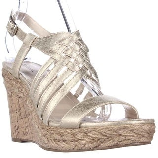 SC35 Raylynn Cork Espadprille Strappy Wedge Sandals - Gold
