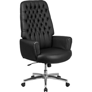 Silkeborg High-Back Tufted Black Leather Executive Swivel Chair w/Arms