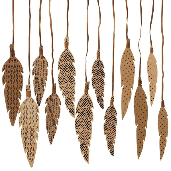 """Pack of 12 Assorted Brown and Black Pattern Decorative Hanging Feathers 7.87"""" - N/A"""
