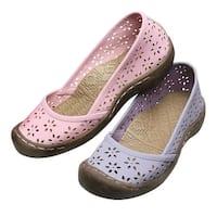 Women's Shoes - Laser Cut Ballet Flats - Rugged EVA Outsoles