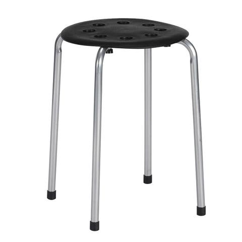 Stackable Round Stool Black & Silver Set of 5