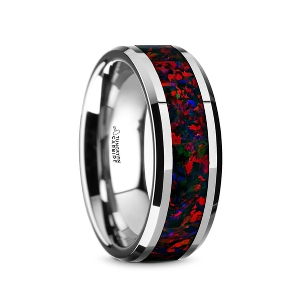 HALLEY Tungsten Carbide Black Opal Inlay Men's Domed Wedding Band with Beveled Edges
