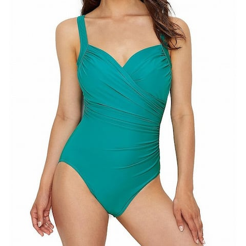 Miraclesuit Blue Womens Size 12 Sanibel Ruched One-Piece Swimsuit